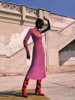 ZARA STUDIO PINK MAGENTA GATHERED DRESS WITH ASYMMETRIC SLEEVES SIZE M/L