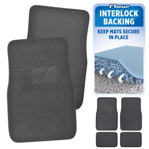 Charcoal Car Floor Mats No Slip or Skid Lock-In-Place Backing 4pc Set Carpet