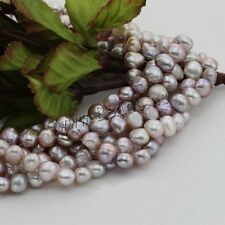 8mm Baroque Purple Natural Cultured Freshwater Pearl Loose Beads Wholesale 15""