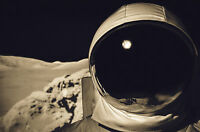 Framed Print - Astronaut in Space Suit Standing on the Moon (Picture Poster Art)