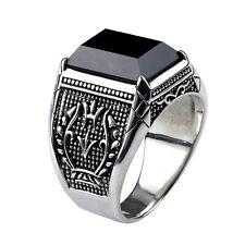 Men Vintage Flower Engraved Natural Obsidian Stone Pure 925 Sterling Silver Ring