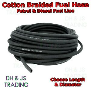 Cotton Braided Rubber Fuel Hose - Unleaded Petrol / Diesel Oil Line Fuel Pipe