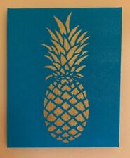 "10""x8"" Gold Pineapple on Blue Canvas"