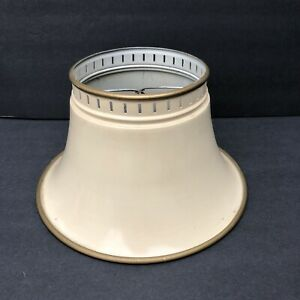 """Vintage Metal Tole Toleware Clip Lamp Shade Off White Cream Beige 10.5"""" By 6"""""""