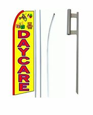Daycare King Size  Swooper feather Flag Sign  W/Complete Set