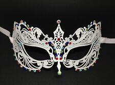 Elegant White Metal Filigree Venetian Masquerade Halloween Mask w/Rhinestones