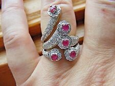 14k Yellow Gold Pave Diamond Red Ruby Multi Flower Floral Cluster Cocktail Ring