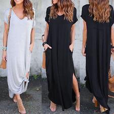 Womens Short Sleeve Split Boho Ladies Summer Casual Beach Party Long Maxi Dress
