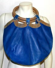 Charles Jourdan Paris vintage blue leather tote hand bag  distress