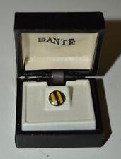 Vintage MINTY Dante Round Circular Yellow Men's Tie Tack Clasp w/ box Rare