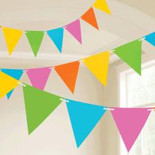 Pastel Coloured Rainbow Birthday Party Flag Bunting Banner Decoration 10M