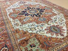 """Persian Oriental Area Rug Serapi Hand Knotted Wool Beige Rust 10'.0"""" X 14'.0"""""""