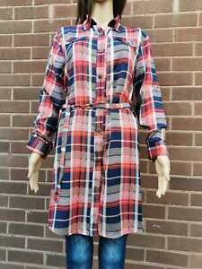 Womens Size 8 to 16 Longline Shirt Dress Chequered  Red