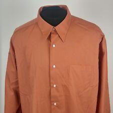 d2d89a43c338 Bergamo New York Mens Sz 2X 18-34 Button Front Shirt Rust Pocket Long  Sleeves