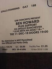 Ben Howard Tickets X 2 December 2018 Apollo Manchester