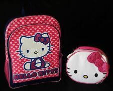 """HELLO KITTY SANRIO 16"""" Full-Size Backpack Set w/Insulated Lunch Tote Box NWT $50"""