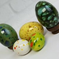 5 Vintage Beautifully Hand Painted Speckled 70s Era Ceramic Easter Eggs
