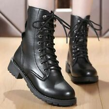 Ladies Comfortable Leather Ankle Boots Black Large Size Spring Motorcycle Shoes