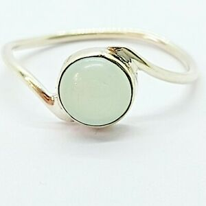 Brand New Sterling Silver 925 Chalcedony (Round) Ring, Size S