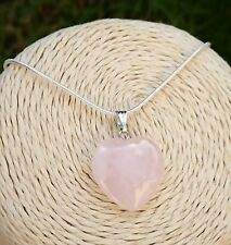 GENUINE Natural Rose Quartz Heart Pendant Necklace with gift pouch