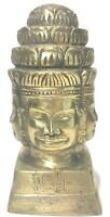 "Vintage brass Bayon Buddha Bust 7"" Statue Figure. 4-Faced W/ Tibetan Writing"