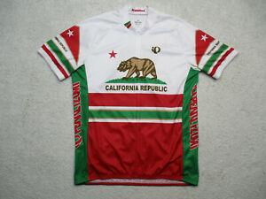 Pearl Izumi Cycling Jersey Mens 2XL White Short Sleeve California Flag XXL RARE
