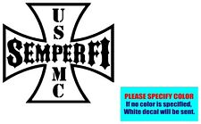 Semper Fi USMC Marines Iron Cross Vinyl decal sticker Graphic Die Cut Car 9""