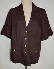 New Lane Bryant 14/16 Blazer Brown Short Sleeve Linen Cotton Button Jacket