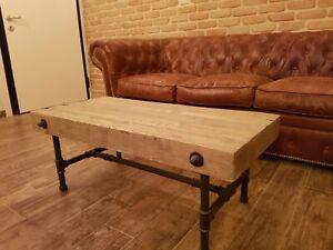 Tavolino da salotto in stile industrial tavolino da caffè in ferro e legno