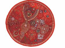 """Red Decorative Round Floor Pillow Cover Beaded Living Room Accent Cushion 26"""""""