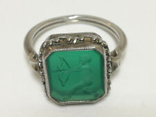 Antique Seal Ring Silver 835 Green Stone