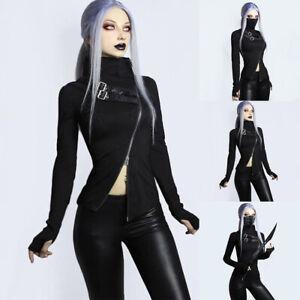 Womens Zipper Buckle Punk Tops Long Sleeve Punk Blouse Halloween Gothic Pullover