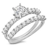 2.9ct Round Cut Bridal Statement Engagement Wedding Ring Band Set 14k White Gold
