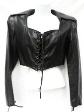 NORTH BOUND LEATHER Womens Black Cropped Gothic Medieval Corset Coat Jacket L