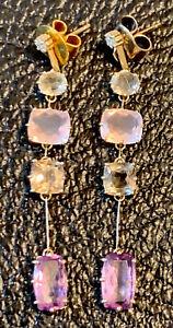 H. STERN DESIGNER 18K YELLOW GOLD Gemstone EARRINGS 6 Grams