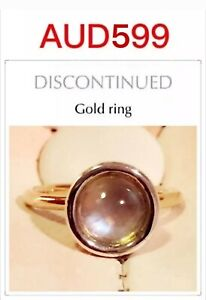 Genuine Pandora 14ct Gold droplet Ring custmized w Moonstone, Size 54