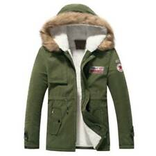Men Winter Warm Thicken Down Hooded Cotton Coat Outwear Parka Fur Collar Jacket