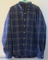 J.CREW Mens Long Sleeve Shirt Size Extra Large (XL) Blue and Gray Plaid Soft