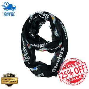NWT! Licensed NFL Pittsburgh Steelers Black & Gold Sheer Infinity Scarf One Size