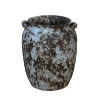 Ceramic Rough White Brown Dimensional Pottery Marks Tall Vase Jar cs3689