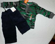 Corduroy Pant Set Gymboree 2pc Camo Navy Winter Fall Baby Boy 6-12 month New