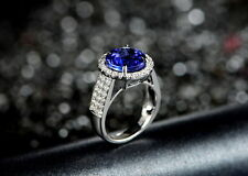 SOLID 18K WHITE GOLD NATURAL STUNNING BLUE TANZANITE DIAMOND ENGAGEMENT RING