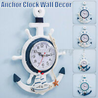 Anchor Clock Beach Sea Theme Nautical Ship Wheel Rudder Steering Wheel