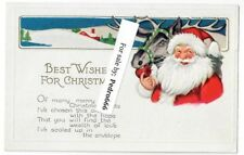 Early 1900's Santa Claus Embossed Holly Christmas Postcard Vintage Original Deer