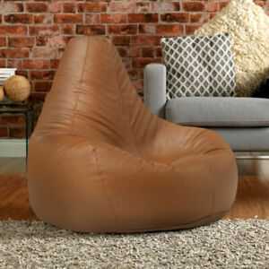Faux Leather Extra Large Gaming Bean Bag Recliner Chair Faux Leather TAN