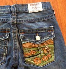 """True Religion 27 Low Waist Flare Cut Buddha Scene Pocket Jeans 29"""" x 31"""""""