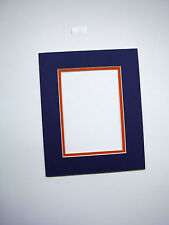 Picture framing Mats Medium Blue with Orange 10x13 for 8x10 photo Set Of 2