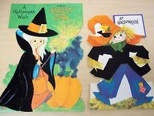 2 Vintage Die-Cut Flocked Halloween Stand-Up Cards - Witch - Scarecrow - Unused