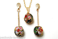 9ct Gold Black Chinese Ball Pendant and Earring Set Made in UK Gift Boxed