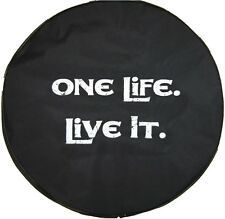 """SpareCover® Brawny Series - One Life Live It on 32"""" Black Denim Tire Cover"""
